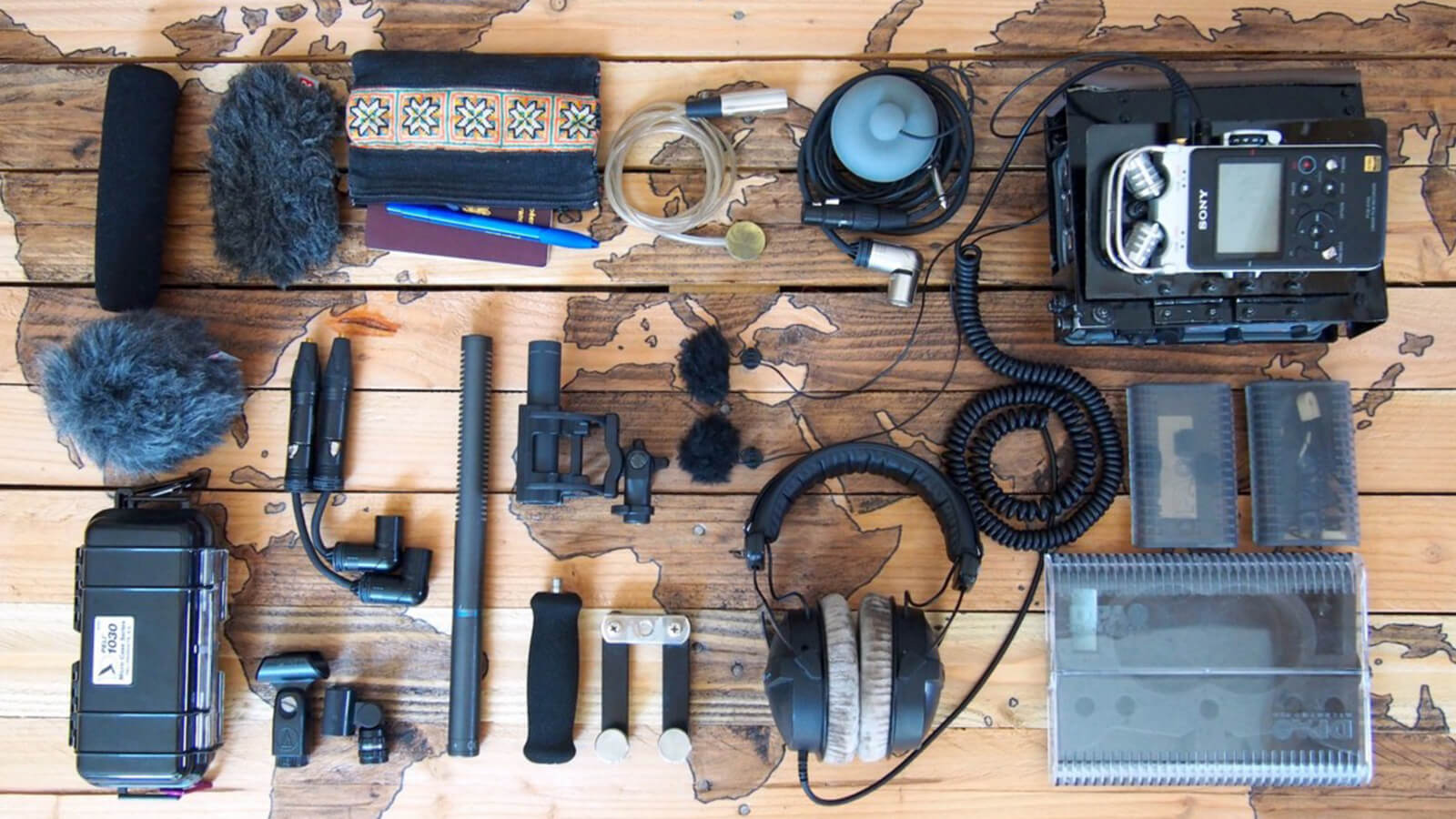 image of Charlie Atanasyan's field sound recording gear for capturing ambiences