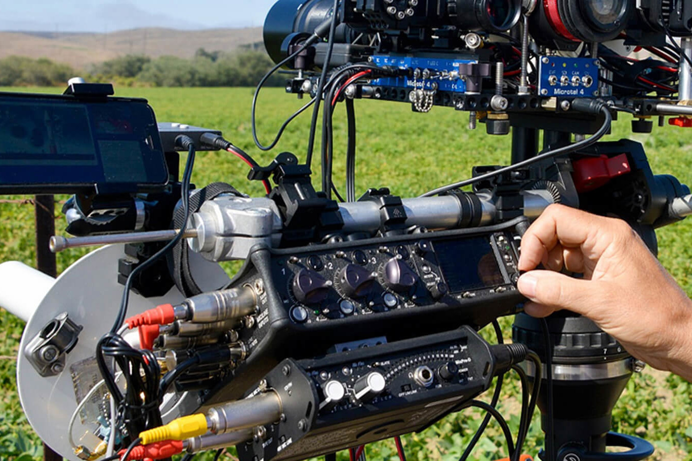 image of Dan Slater's sound and camera rig, featuring sound devices recorders