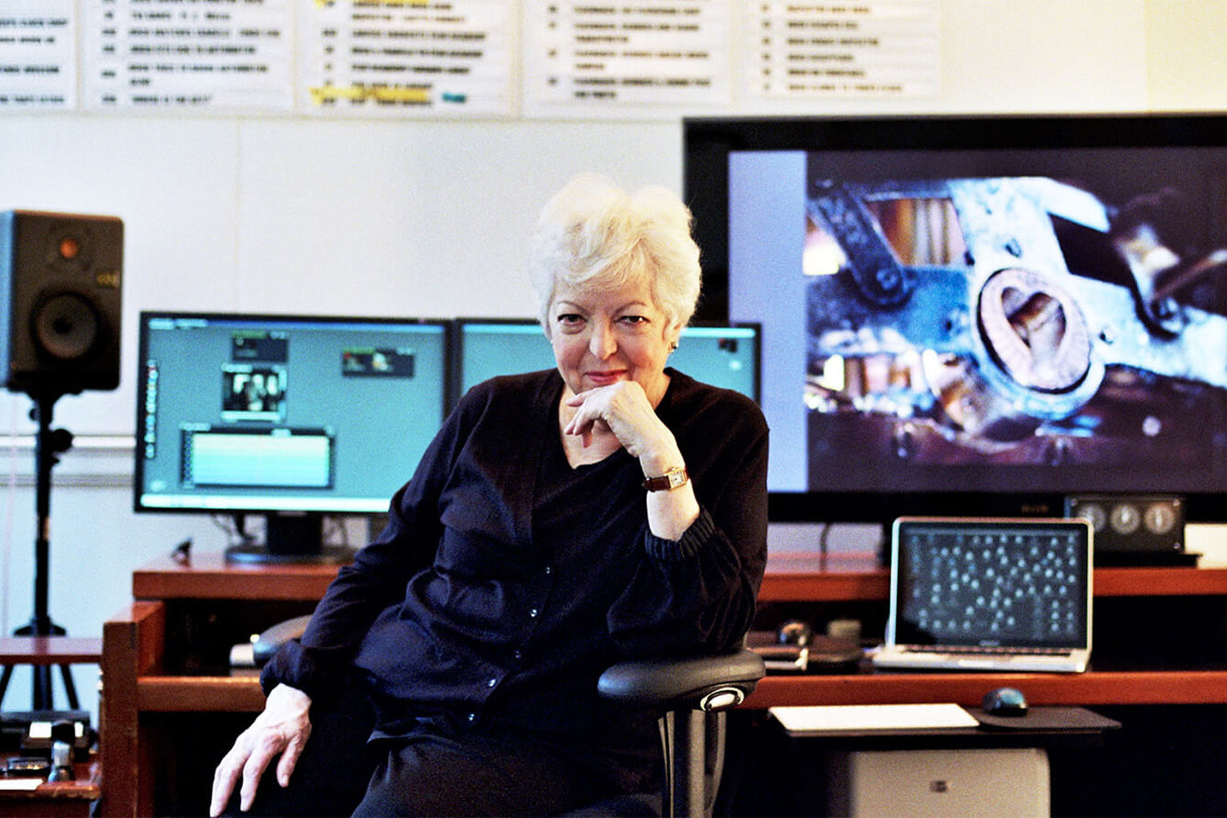 image of thelma schoonmaker at her editing desk