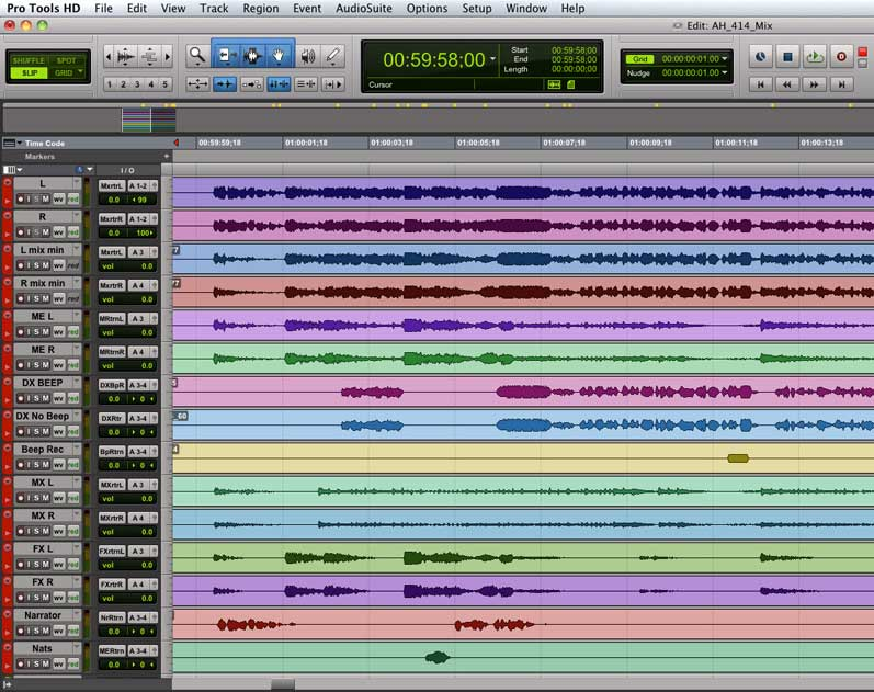 screenshot of a Pro Tools session with all audio stems laid out in tracks