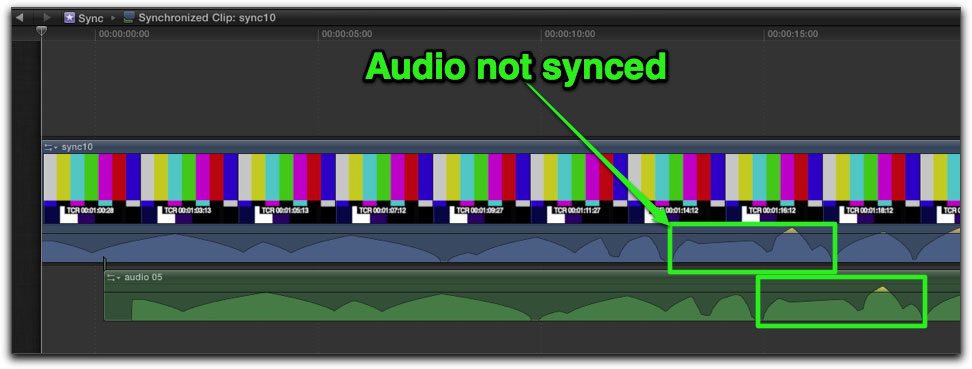 screenshot of 2 audio sources on a timeline, out of sync