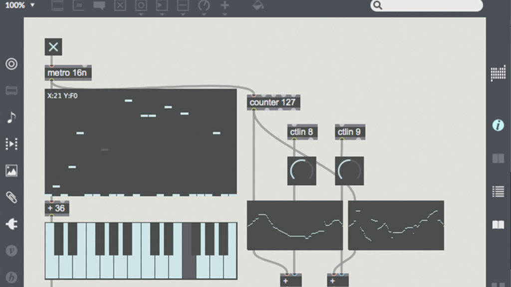 image of Cycling74's MaxMSP audio programming interface. These can get way crazier!