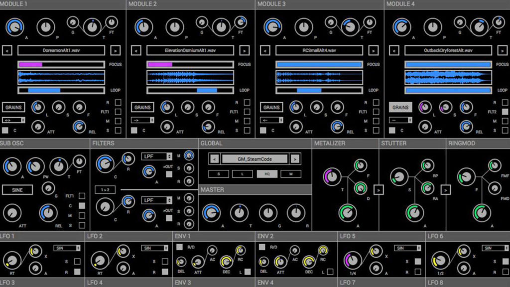 image of user interface for Glitchmachine's Polygon audio plugin software
