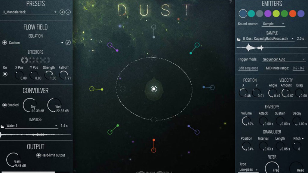 image of user interface for Soundmorph's Dust sound design software