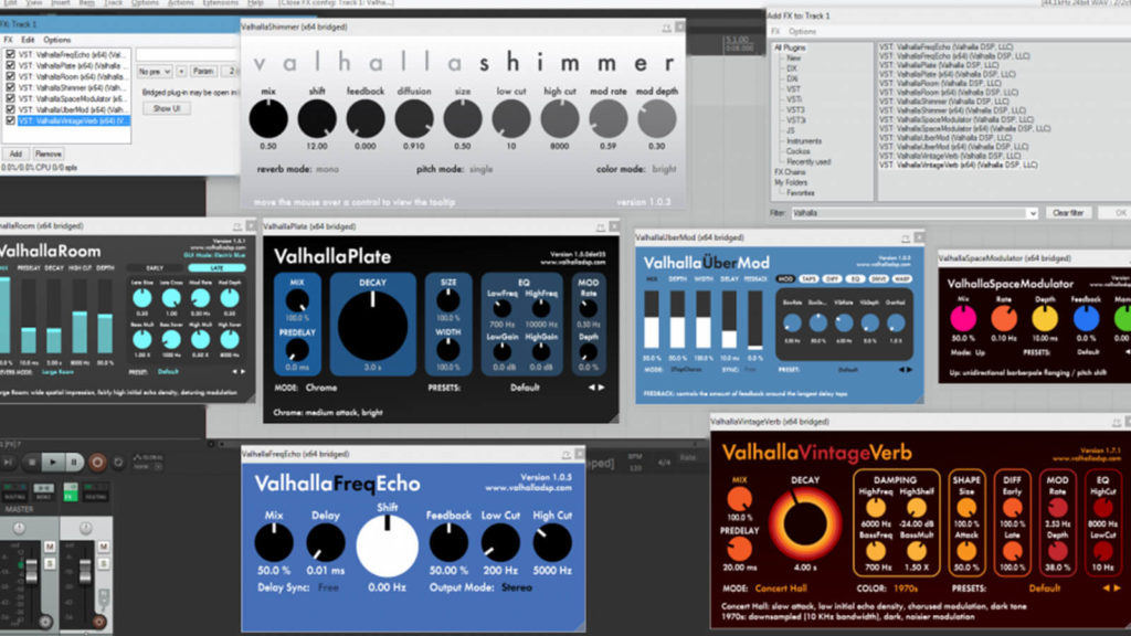image of multiple Valhalla DSP plugins being ran inside of a DAW