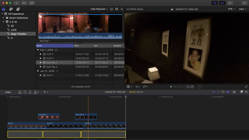 screenshot of fcpx magnetic timeline