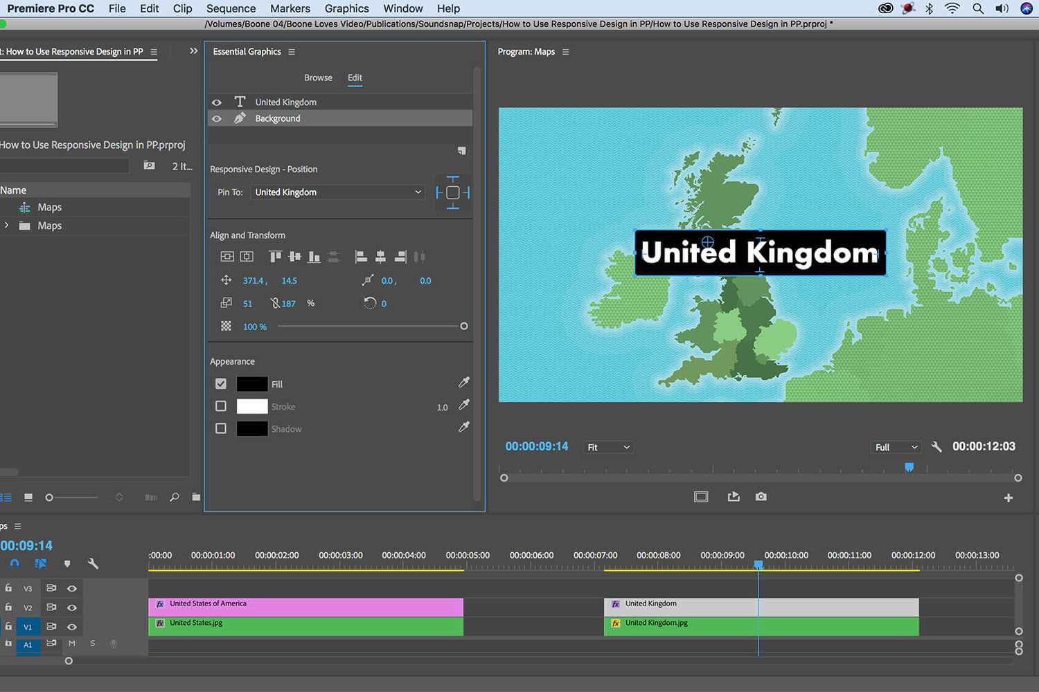 screenshot showing the setup of responsive design in Premiere Pro