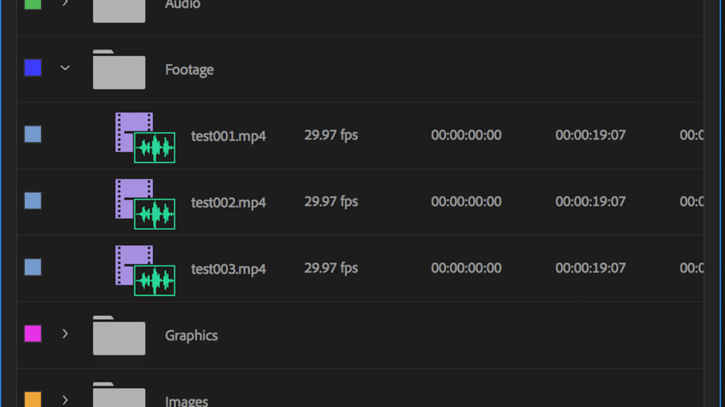 screenshot of bin folder structure in Premiere Pro, which when setup properly, saves you time