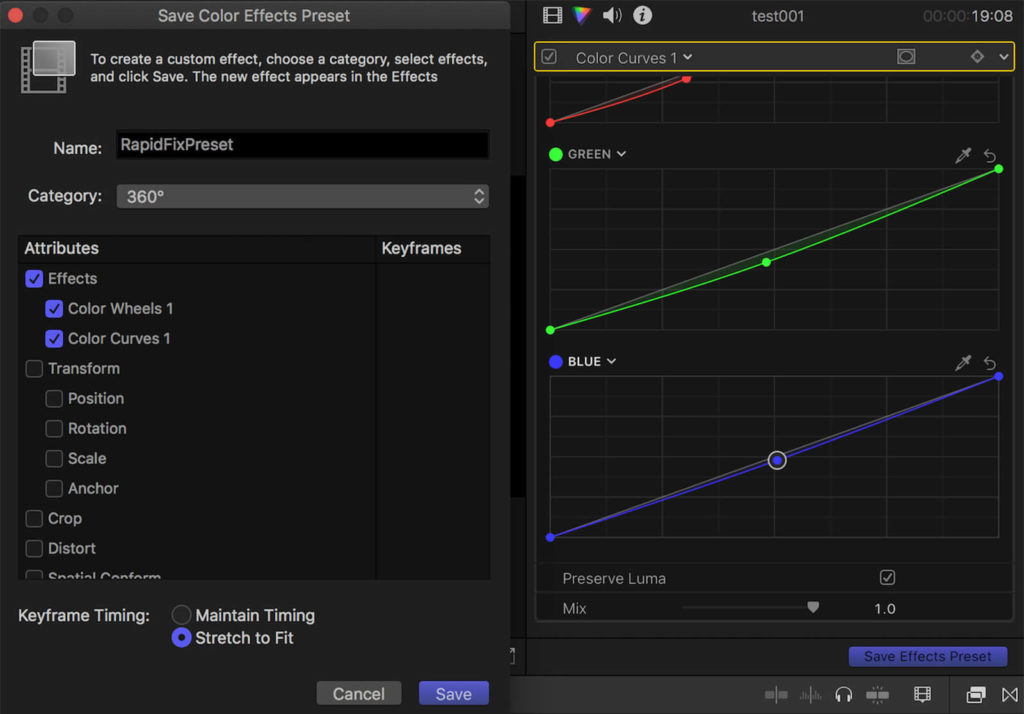 screenshot of a color curve preset which can save you time when video editing