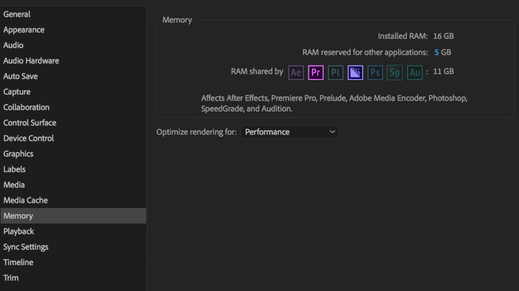 screenshot of premiere pro's RAM settings, which can help speed up you video editing efficiency