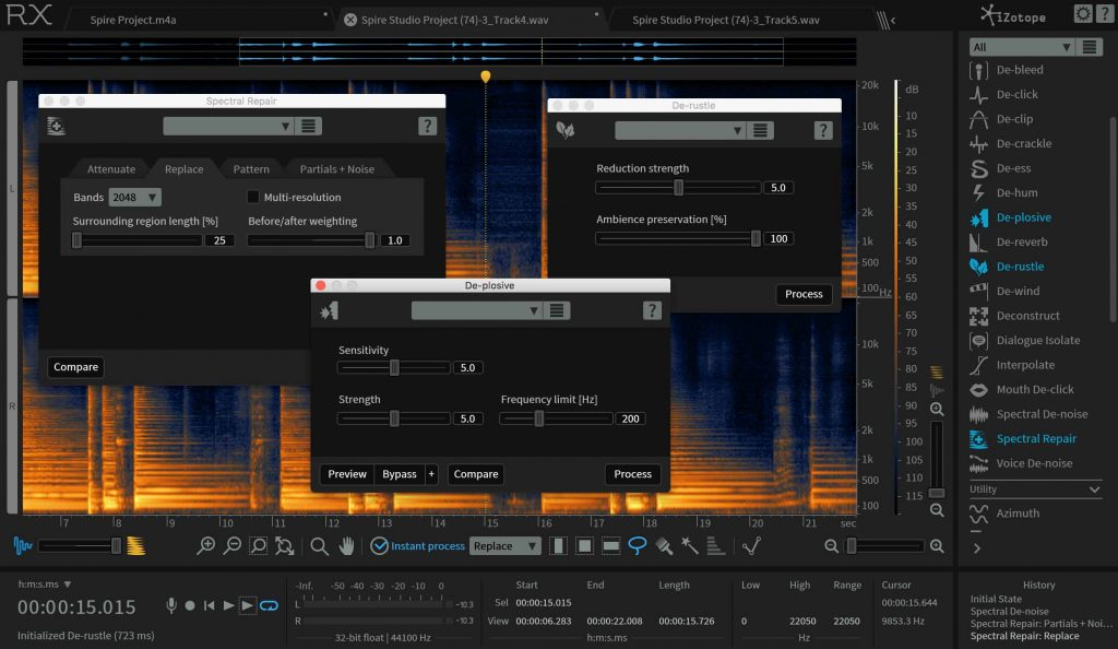 screenshots of iZotope RX audio restoration tools