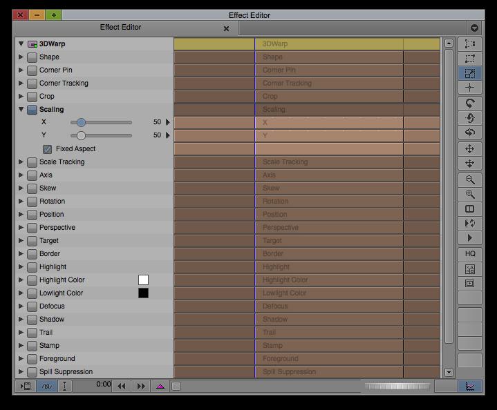 Effect Editor - Scaling Parameter