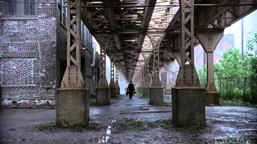 a man under a bridge