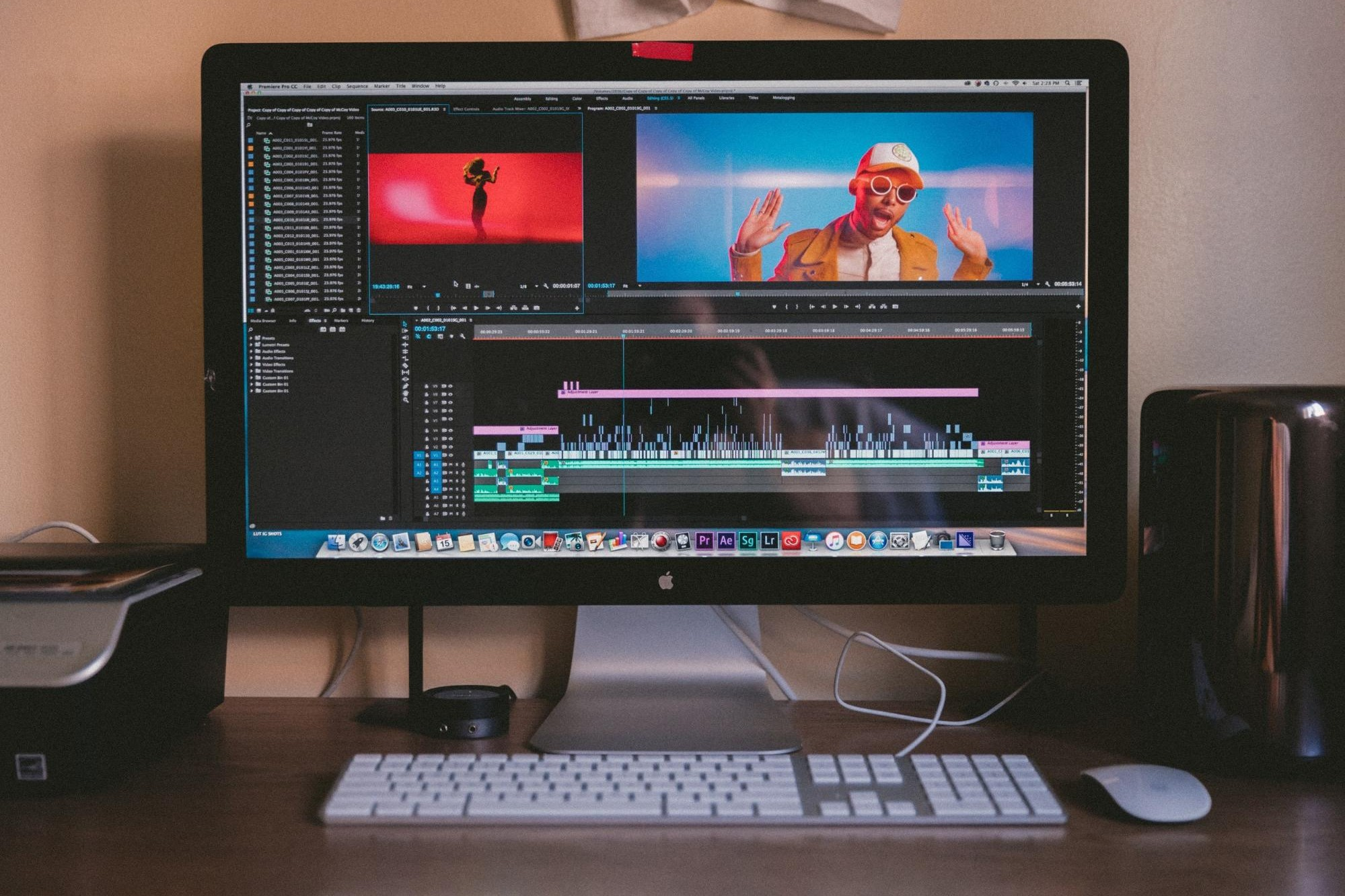 workstation with premiere pro