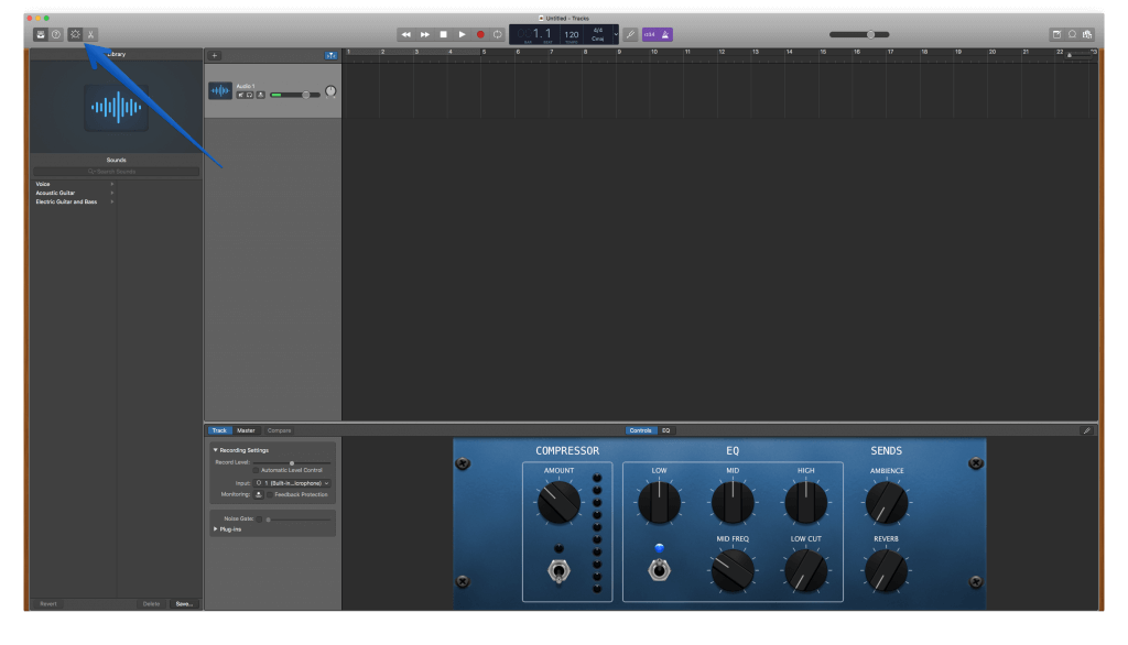 6 - Recording the Podcast Step 2b - GarageBand Arrow