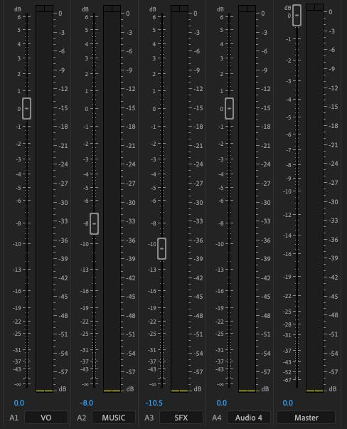 track mixer levels